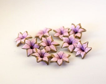 Pale Pink Lily Beads, Polymer Clay Beads, Light Pink Flower Beads 796