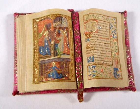 Miniature Book Medieval Gold Illuminated Open Book Ooak Red