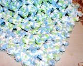 Crochet baby doll  Blanket Afghan 19 inch sq square White Blue Green BBB19