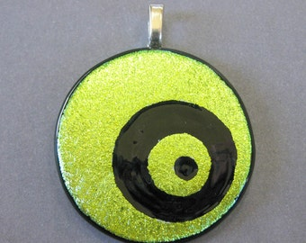 Gold Dichroic Pendant, Hand Etched Glass, Gold Fused Glass Pendant, Ready to Ship, Fused Glass Jewelry - Elliptical - 1902 -2