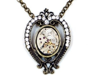 Steampunk Royal Ornate Antiqued Brass Necklace with Vintage Watch and Sparkling Rhinestones by Velvet Mechanism