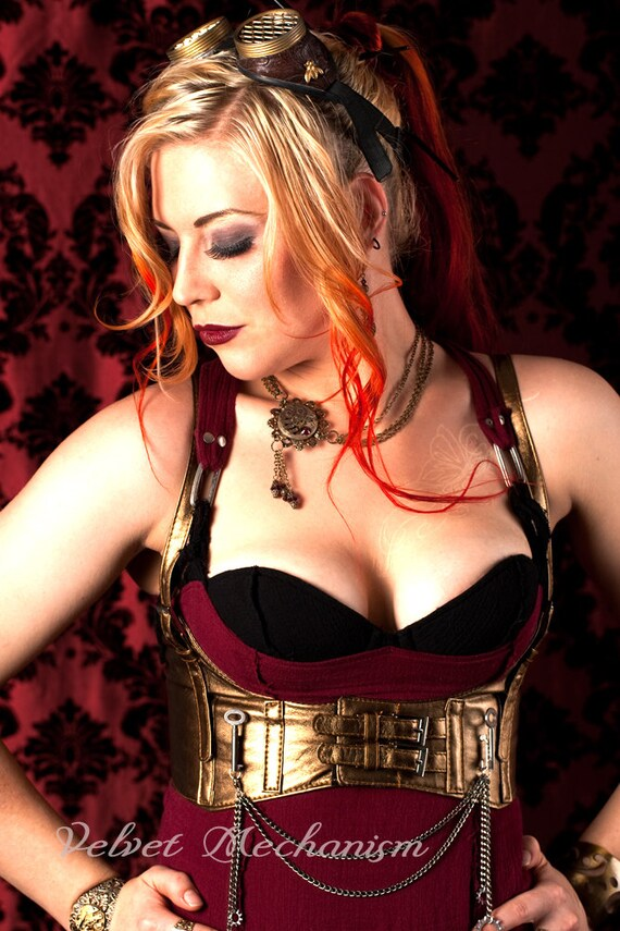 SPECIAL Steampunk Harness BRASS Faux Leather Underbust Bodice with Silver Gears, Buckles, Chain, and Antique Keys by Velvet Mechanism