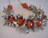 In Full Bloom - Vintage 1960s - Silver and Coral Flower Necklace - Floral Garland Style