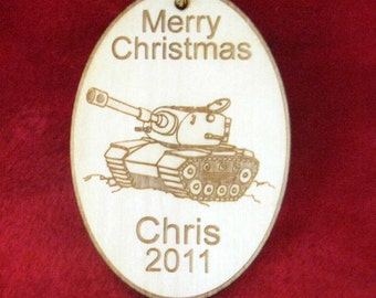 Personalized wooden tank ornament or gift tag