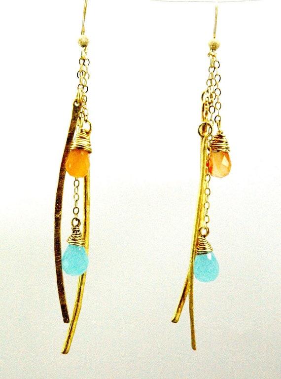 Long Gold Gemstone Earrings / Long Chain Earrings / Vermeil Golden Sticks Earrings Carnelian Chalcedony Gemstones and 14k Gold filled Chain