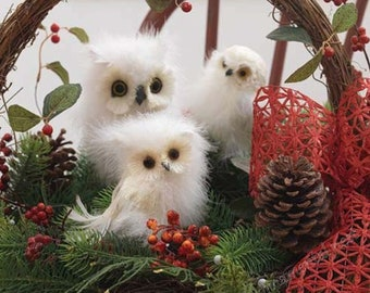 Twin (2) Floofy Fuzzy White Marabou Feather Snowy Owls Christmas Tree Ornaments Decorations Crafts