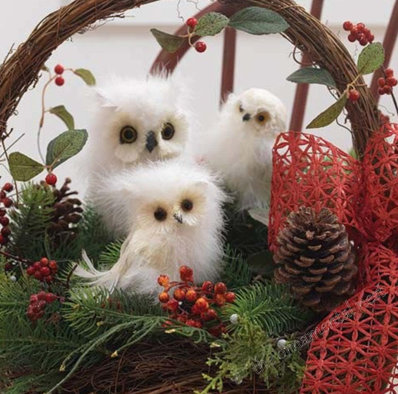 Twin 2 Floofy Fuzzy White Marabou Feather Snowy Owls