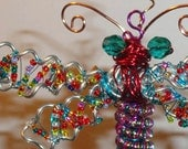 "A Beaded Dragonfly! with Beaded Wings! Large Dragonfly Ornament - Tiny Beaded Wings - number 10509 - size 4""x 6.5"" - house warming gift?"