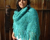 NOW ON SALE! Turquoise & Green Wool Hand Knit Shawl Wrap