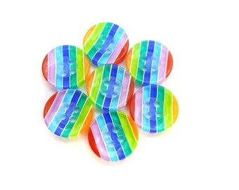 10 resin plastic buttons colorful stripes 13mm, new