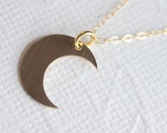 Crescent Moon Necklace Small Gold  Moon Necklace 14kt Gold Fill Charm Necklace