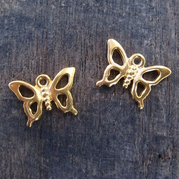 2 TierraCast Retro Butterfly Charms or Pendants - Bright Gold Plated - USA Made