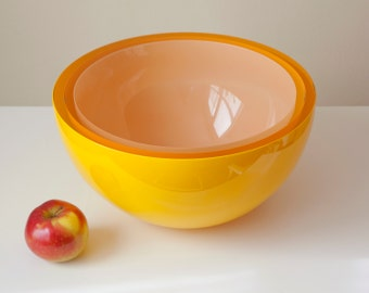 Solar Bowl, Three Layer Hand Blown Glass Bowl in Yellow Orange and Cream