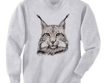 Eurasian Lynx Cat Art Men's Sweatshirt Small - 2XL