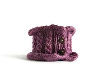 Chunky Cowl Scarf Hand Knit in Lilac Wool, Winter Accessories, Neck Warmer, Womens Cowls, Cable Knit Cowl, Short Scarf, Cowl Neck, Wool Cowl