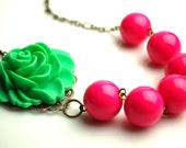 CLEARANCE SALE Asymmetrical Neon Green and Pink Rose Necklace