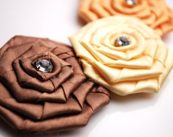 CLEARANCE Neutral Ribbon Rosette Necklace
