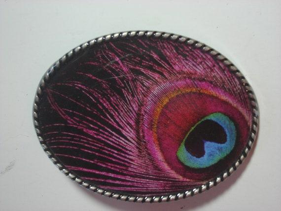 Pink Peacock belt buckle, womens belt buckle