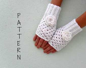 Crochet fingerless gloves mittens wrist warmer PDF Pattern - Openwork gloves with rose