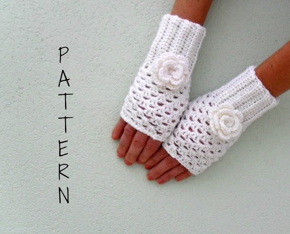 ... mittens wrist warmer PDF Pattern - Openwork gloves with rose on Etsy