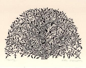 Art, Tree Linocut Art Print, hand printed, rustic wall decor, Arched Tree Linoleum Block Print, Art Print