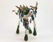 Clay Dragon Sculpture, Art Object, White Dragon with Long Legs