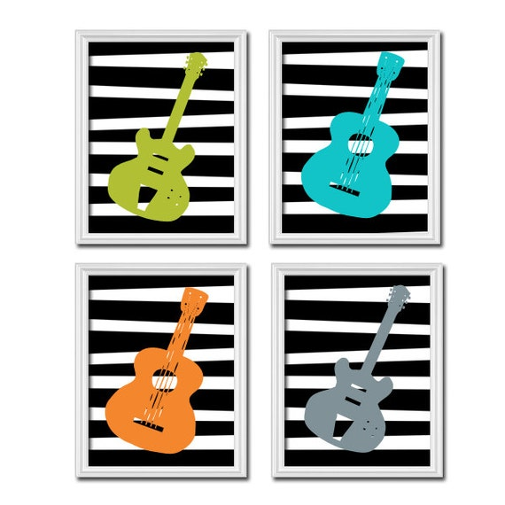Wall Decor Music Theme : Items similar to guitar wall art music theme nursery boy