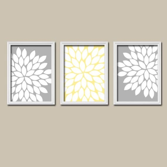 Yellow And Grey Wall Art Canvas