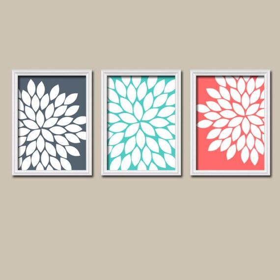 Navy Aqua Coral Bedroom Wall Art Canvas Or Prints By Trmdesign