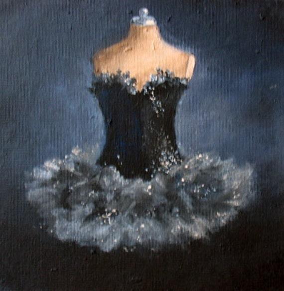 Black Swan Tutu gown ballet painting original ooak canvas still life fashion dress Treasury Item  FREE usa shipping