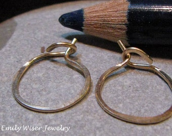 Tiny 14K Gold Hammered Hoops. 10mm. Pick 14k Rose, Yellow, White, or Green Gold. Recycled Gold