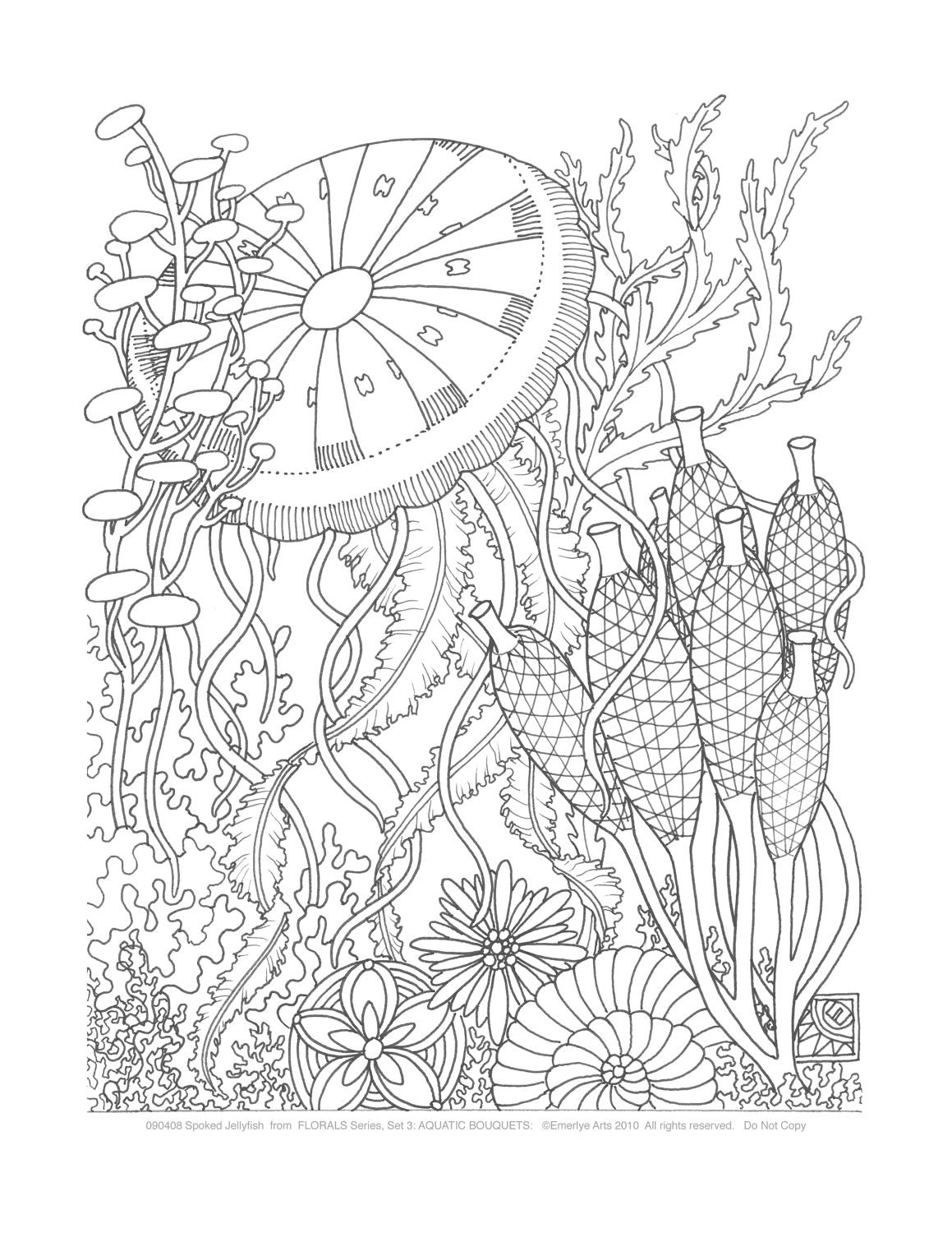 Adult Coloring Pages Aquatic Bouquets Set Of 8 By Emerlyearts