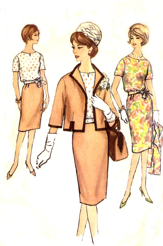 1960s Misses Suit Pattern - Simplicity 4320 - Slim Skirt / Blouse / Lined Jacket - Slenderette - Size 16