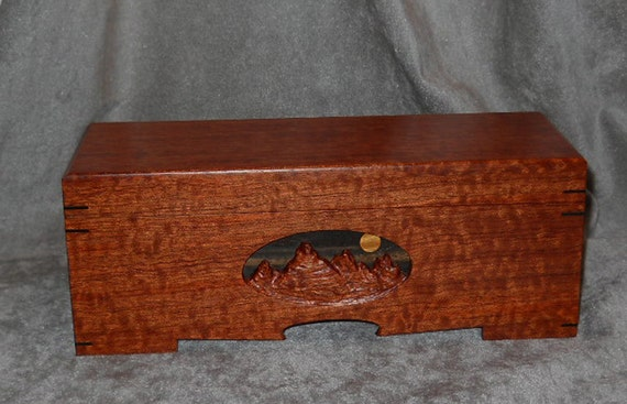 Exotic Wood Box Handmade Moon Over Mountains