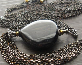 Long black and gold necklace - Onyx gold and gunmetal necklace - South Wind Design