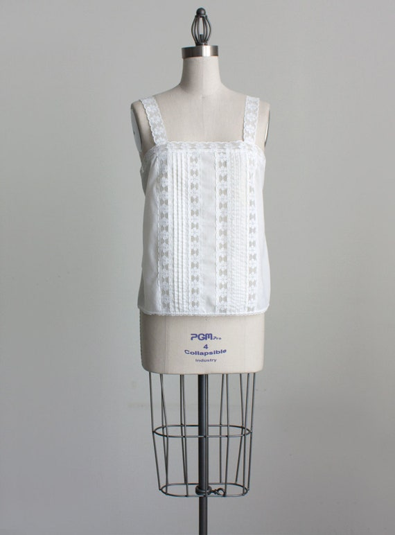 Reserved for Lucille - WHITE LACE CAMISOLE 1980s Vintage Ivory White Lace Cotton Tank Cami Top