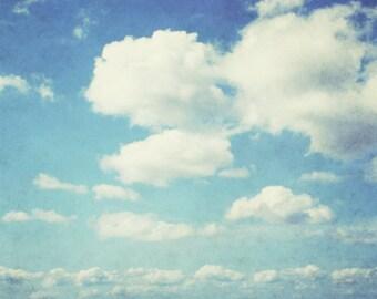 "Cloud photograph - pale blue sky print - nature photography - baby room nursery decor - cloud wall art ""Cloudbursting"""