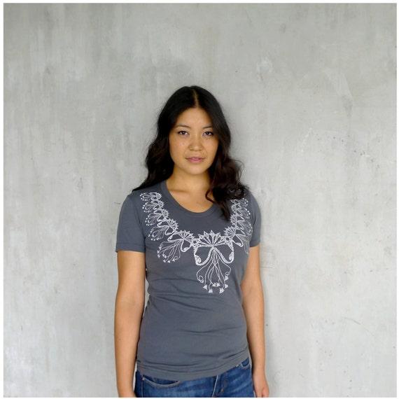 The Medusa - womens t shirt - Small - lace jellyfish screenprint on American Apparel asphalt gray tshirt - gift for her - SALE