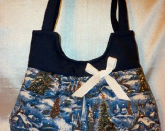 Christmas Boutique handbag many prints to choose from Beautiful Trees snow cabin sparkle boutique tote purse 6 inside pockets