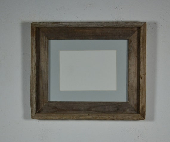 Primitive barnwood frame 8x10 with light gray mat for 5x7 photo