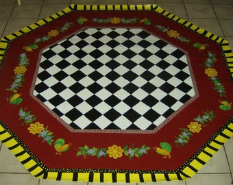 FLOORCLOTH / French Country Primitive / Hand Crafted Rug / Black and White Checked / OCTAGONAL  / 7'x7' / ROOSTER