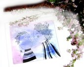 Original Watercolor Painting - Violet Kiss. Girl and boy illustration. Love. Home decor