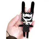 Animal brooch - Polkadot Bunny with Moustache - Moustache brooch