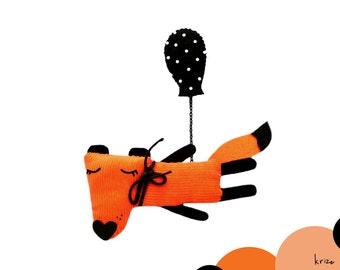 Cute fox brooch animal woodland funny jewelry - Fox and a balloon