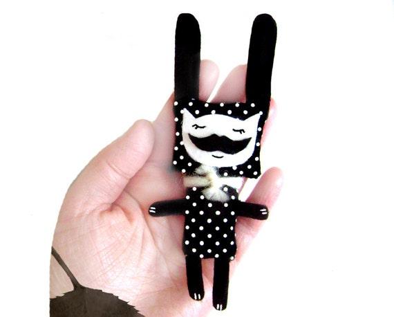 Animal brooch - Polkadot Bunny with Moustache - Moustache brooch