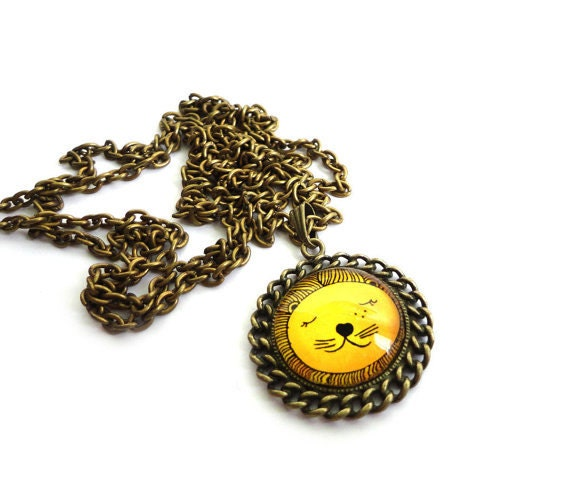 Antique gold necklace - Leo. Sunny necklace. Wearable art. Cute.