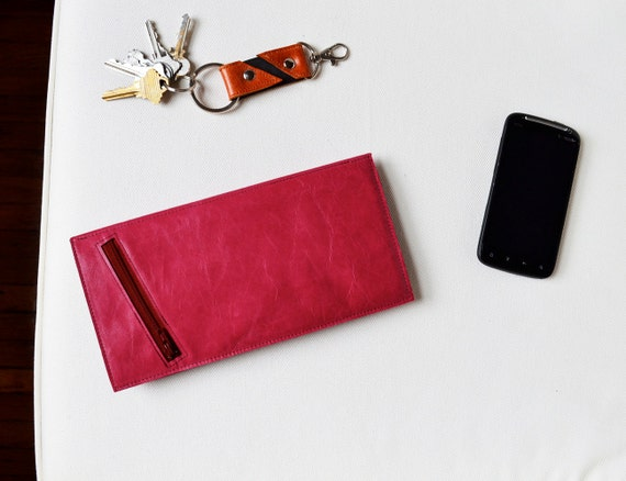 The Stella Slim Travel Wallet Clutch in Hot Pink