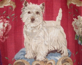 Westie Fabric West Highland White Terrier Panel Linen Dog Fabric to make a Pillow Handbag Tote or any Deco item - Ret. for 218.00 per yd