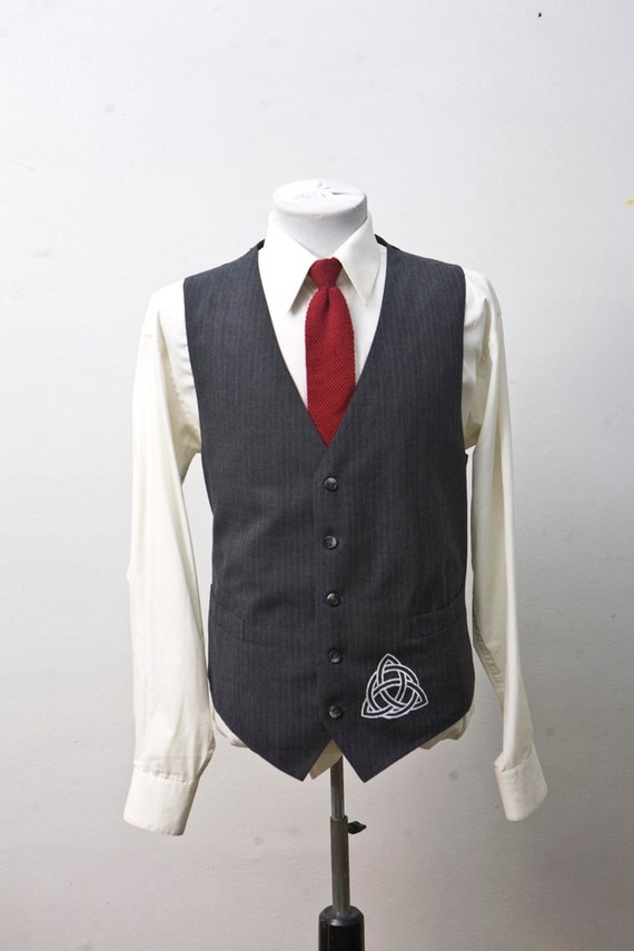 Size 46 Pinstripe Vest Upcycled with Celtic Knot