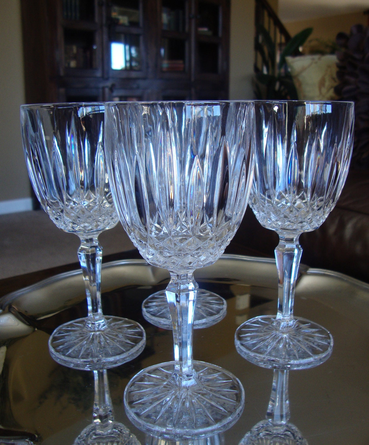 mikasa old dublin crystal wine glasses water goblets stemware. Black Bedroom Furniture Sets. Home Design Ideas